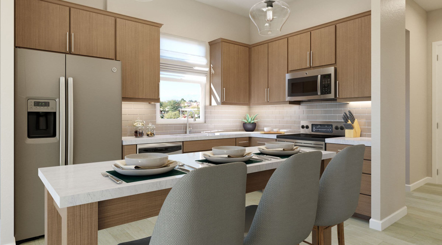 Avenida Palm Desert Apartment One Bedroom | Kitchen Rendering