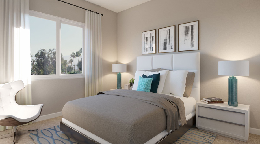 Avenida Palm Desert Apartment Two Bedroom | Bedroom Rendering