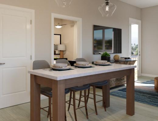 Palm Desert Apartment One Bedroom Plus Den Dining Rendering