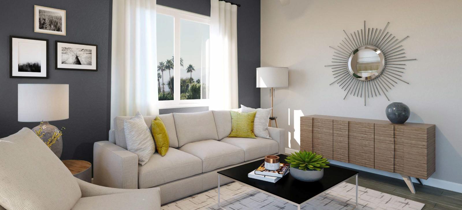 living room gray wall rendering